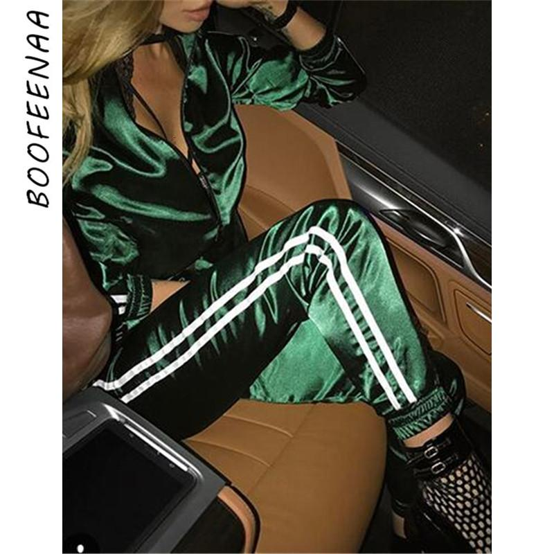 BOOFEENAA Fall 2019 Casaul Tracksuit Women 2 Piece Set Top And Pants Satin Striped Patchwork Zipper Sexy Sweatshirt Sweat Suit T190924