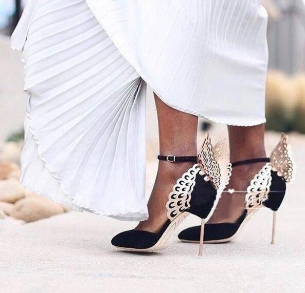Mode Knöchelriemen Schmetterling Pumpen Gold Flügel Schwarz Hochzeit Schuhe Frauen Samt Handgefertigte Luxus Design Damen Schuhe Party