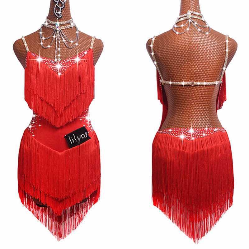여성 라틴어 댄스 스커트 탱고 살사 고고 댄스 의상 파티 댄서 가수 프린지 술 레드 드레스 라틴 드레스를 판매