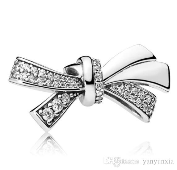 Original 925 Sterling Silver Charm Sparkling Oversized Brilliant Bow With Crystal Beads Fit Bracelet & Necklace Jewelry