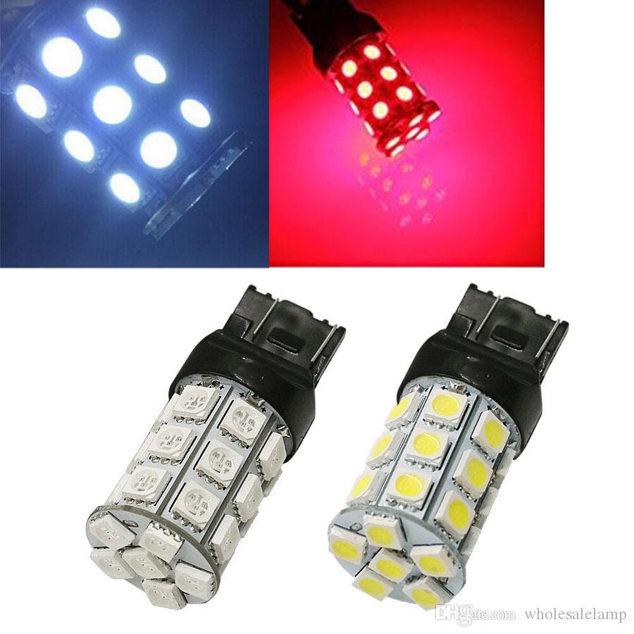 7443 7440 T20 27SMD 5050 Bombilla LED superbrillante Fuente de bombillas de automóvil Luz de freno de estacionamiento de freno de respaldo Singal trasero