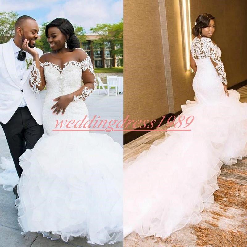 Vestido de novia exquisita de manga larga vestidos de boda del Organza de los granos de la sirena de la colmena del vestido de la novia africanas de encaje transparente Vestido de novia más el tamaño