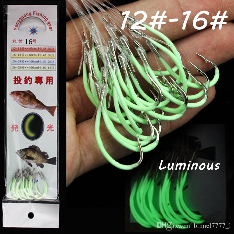 60pcs 12 # -16 # Luminous Maruseigo Hook (con linee di pesca) ad alta acciaio al carbonio spinato pesca Ganci ami Pesca Carp Fishing Tackle B7_25