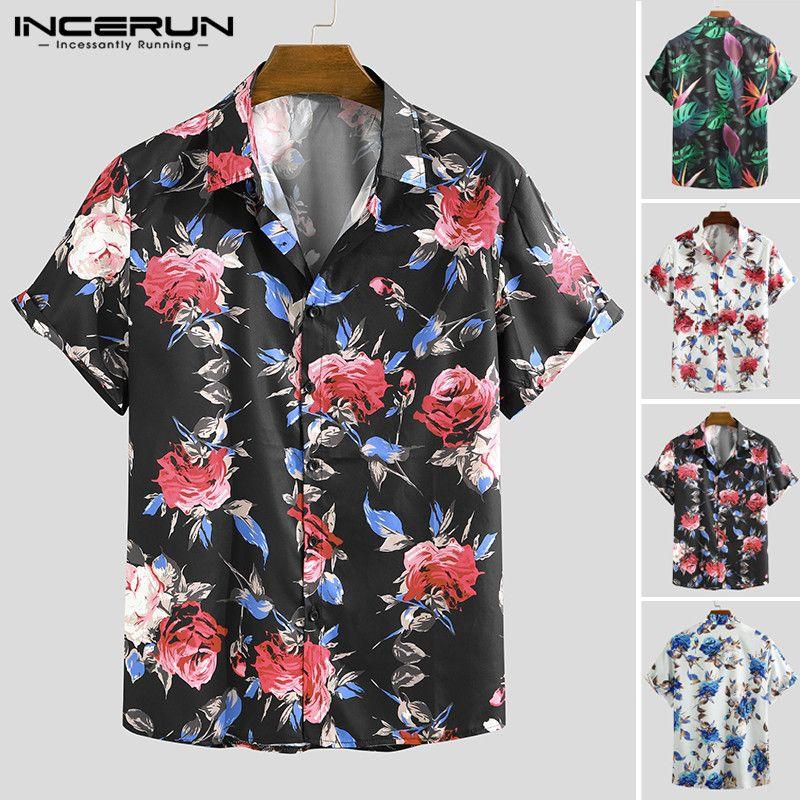 INCERUN Man Çiçek Hawaii Plaj Bluz Moda Erkekler Çiçek Desen Baskılı Gömlek Nedensel Kısa Kollu Yaka Gömlek Plus Size Tops