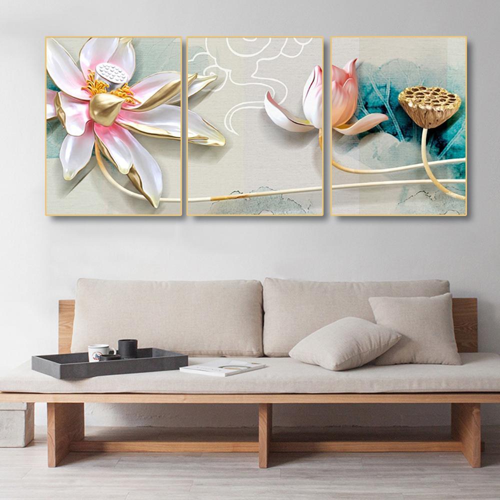 Laeacco 캔버스 그림 서예 3 패널 중국어 연꽃 포스터 인쇄 벽 예술 거실 장식