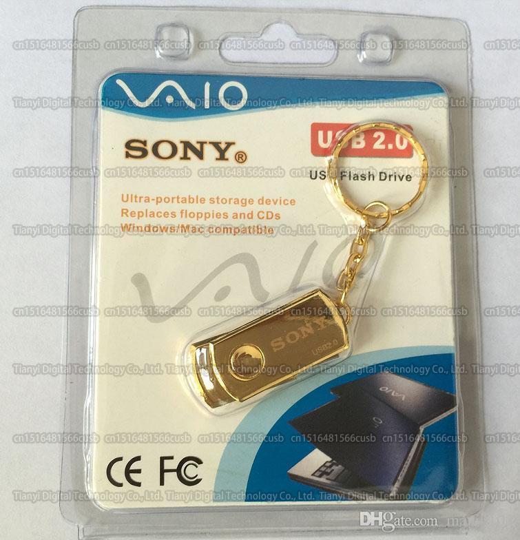 8 Go / 16 Go / 32 Go / 64 Go / 128 Go / 256 Go de haute qualité SONY or rotation métal lecteur flash USB / clé USB / capacité réelle clé