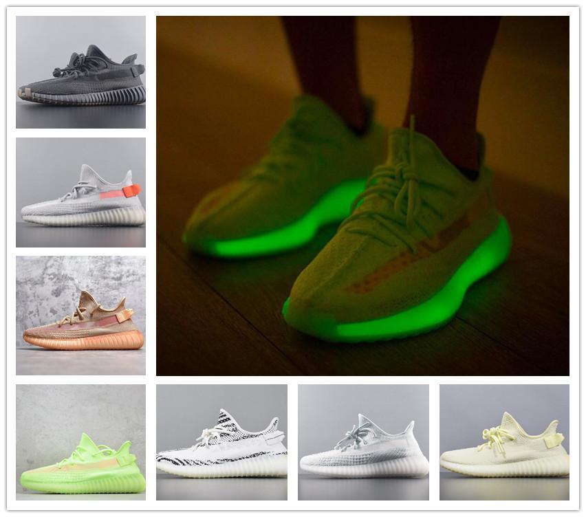 Marca Descuento Kanye V2 STATIC YECHEIL ZAPA ZAPA DE ZEBRA TRIPLE NEGRO Reflexivo V2 Verde Spilly Spilly Shoes de jogging Zapatillas de deporte Sneakers