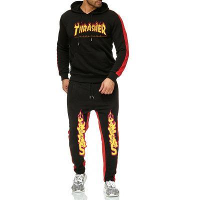 Uomo sportivo semplice con cappuccio con coulisse Pantaloni due pezzi con le tasche di colore solido stile minimalista