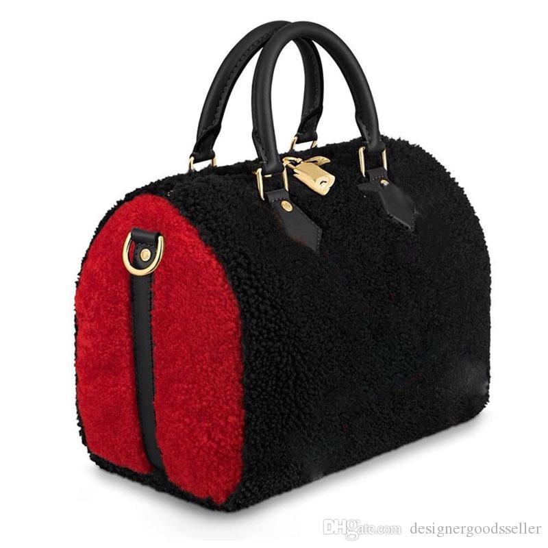 Дизайнерские сумки бренда сделаны из шерсти женщин сумка роскошная сумка подушку плеча мешок женщин тотализатор SPEEDY 30 сумка M55422 SPEEDY 25