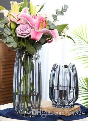 European creative color transparent glass vase hydroponic family raising rich bamboo lily vase living room flower arrangement