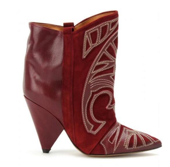 2019 nuevas botas bordadas para mujer botines de tacón de punta botines botines de punta zapatos de vestir botas de estilo roma mujer