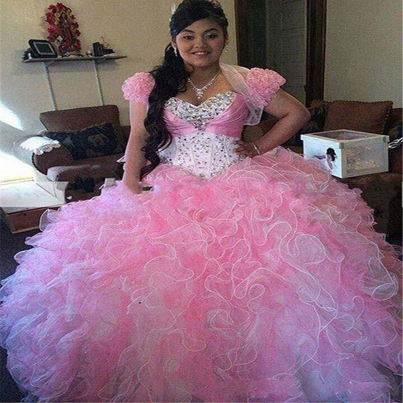 Clássicas rosa Masquerade Vestidos Quinceanera com Jacket Organza Ruffle frisada de cristal doce 16 Prom Vestidos Tiered vestidos de quinceanera