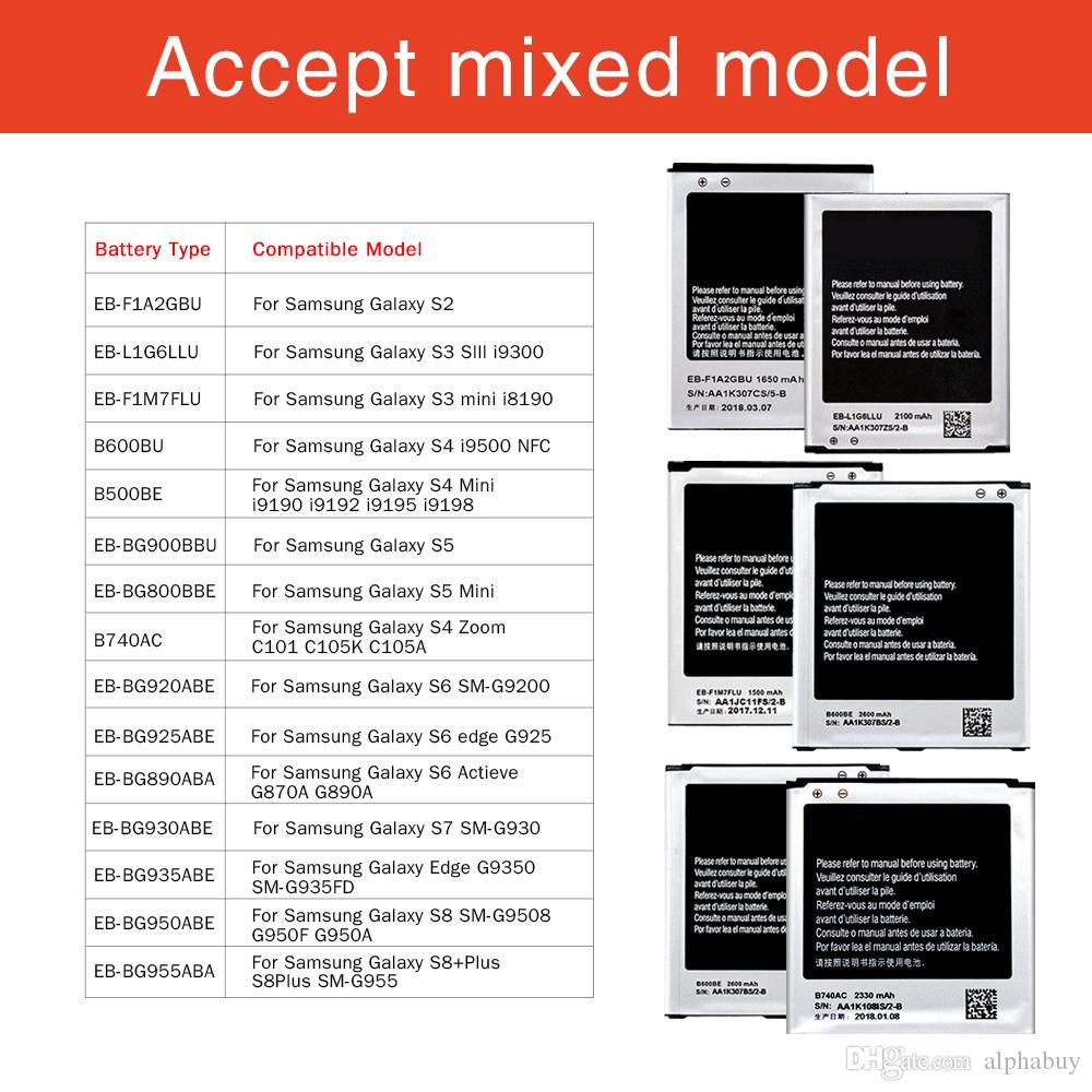 Para Samsung Galaxy S8 S9 S10 PULS S3 S4 S4 S4 S4 S6 S7 Borde Batería Batería de reemplazo de alta calidad B500BE B600BU EB-BG900BBUB EB-BG955ABE BATTERIA