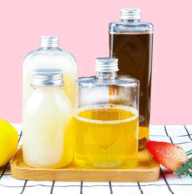 Пластиковые бутылки напитка 250-550ml сока бутылки Прозрачные бутылки Круглый плоский квадрат Вода Герметичная Напиток чашка с крышкой GGA3486