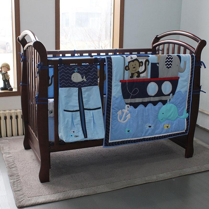 8PCS الطفل الفراش مجموعة للبنين المحيط الأزرق القرد -comforter، ورقة السرير، سرير تنورة، مصدات والمعبئ الحفاض 2020 تصميم جديد