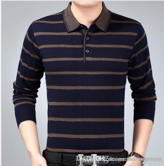 Nuevo Hombre con bandas de tejidos polos de la manera Padre Ropa de diseño para hombres Tops polo de la camiseta del resorte del otoño comerciales