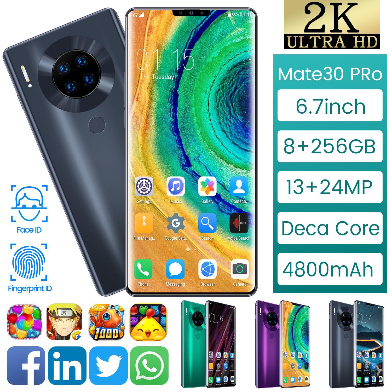 """M30 4G Android Smartphone 3G 6.7"""" impressões digitais Telefones rosto desbloqueado móveis inteligentes 8G 256G Dual SIM Mobilephones Telefone Wifi"""