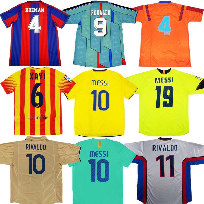 91 92 95 96 99 01 02 camisa de futebol 03 08 09 XAVI GIOVANNI A. INIESTA IBRAHIMOUIC Retro Rivaldo RONALDINHO RONALDO camisa de futebol