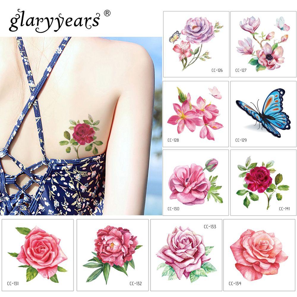 Glaryyears 6 * 6 سنتيمتر النباتات المؤقتة الوشم ملصق الأزياء وهمية الوشم الساخن ماكياج فلاش تاتو هيئة الفن امرأة صغيرة للماء الطفل