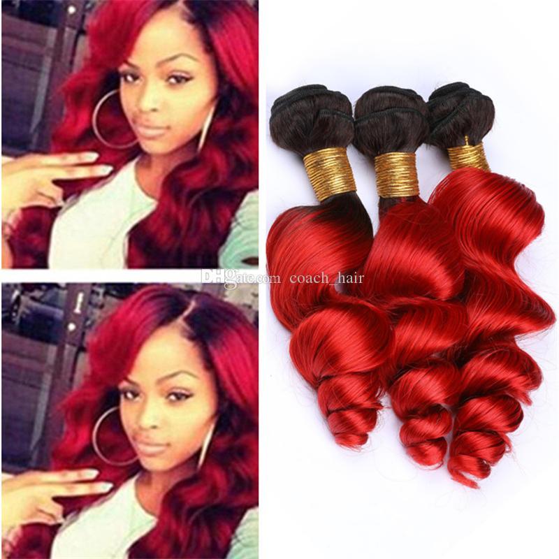 الأسود والأحمر البرازيلي متموجة الشعر حزم صفقات فضفاض موجة طبقتان 1B الأحمر أومبير العذراء الإنسان الشعر نسج اللحمات ملحقات مختلط طول