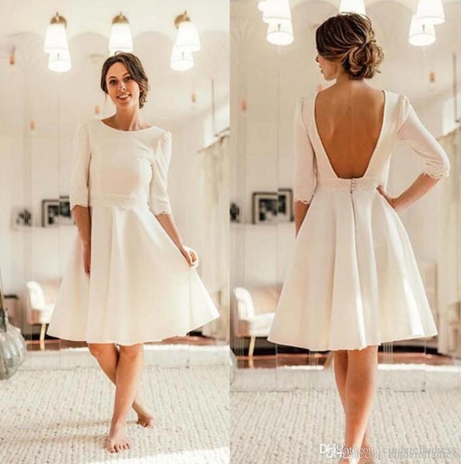 2020 Летняя Ivory атласная Короткие свадебные платья с открытой спиной колен Свадебные платья Половина рукава Свадебные платья Мантия де Mariage BM1505