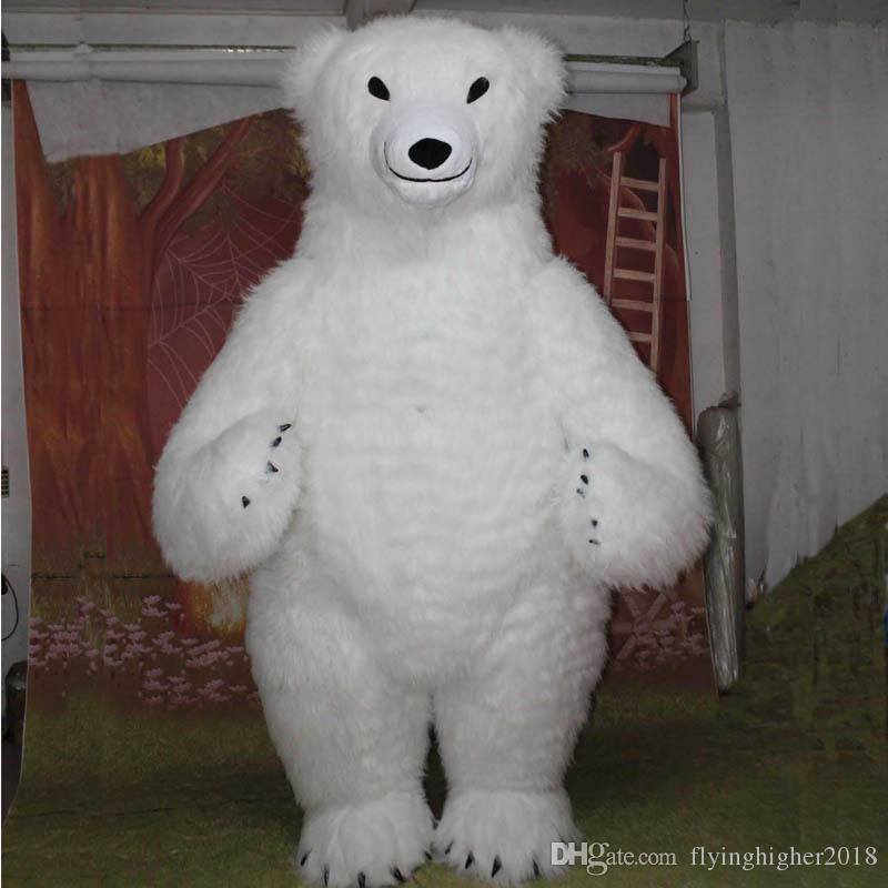 Professional custom Polar Bear Mascot Costume cartoon Huge white plush bear Animal Character Clothes Halloween festival Party Fancy Dress