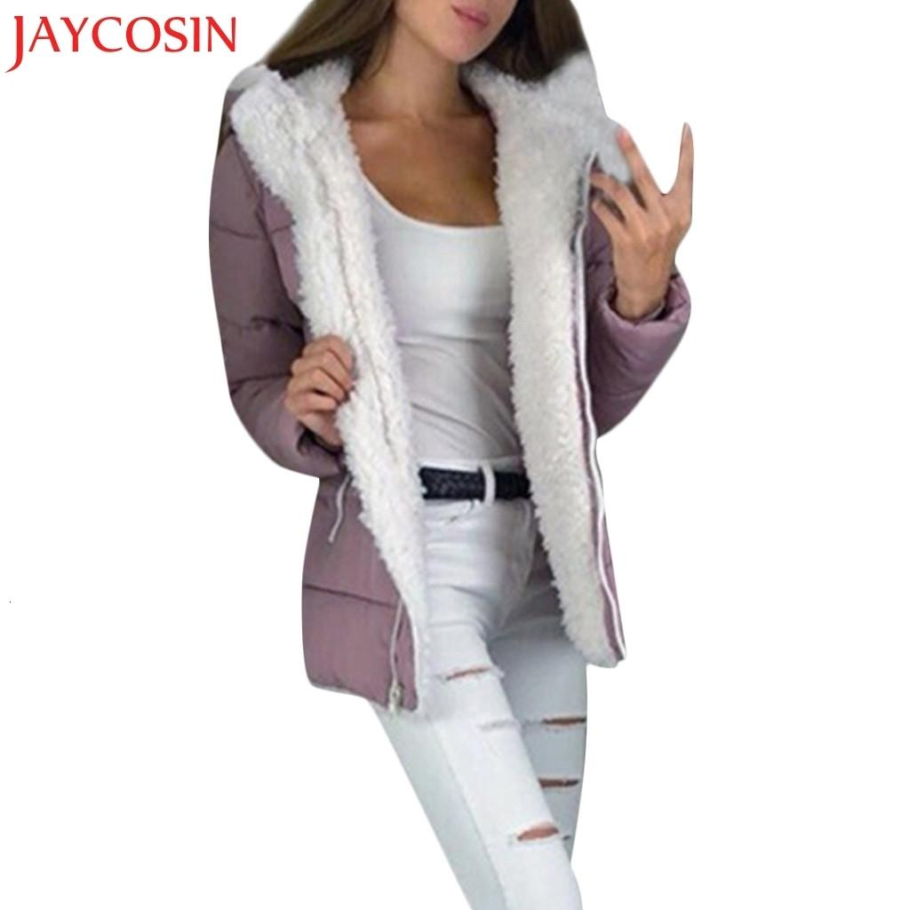 JAYCOSIN Moda invierno de las mujeres espesan la abrigos de manga larga chaqueta de vestir exteriores caliente de la cremallera con capucha Outwear S-5XL Tamaño Dropship Dec.22 V191029
