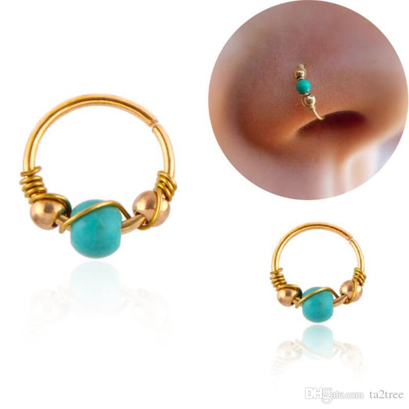 Wholesale Kallaite Nose Stud Copper Nose Ring Ear Studs Body Piercing Jewellery For Man and Women