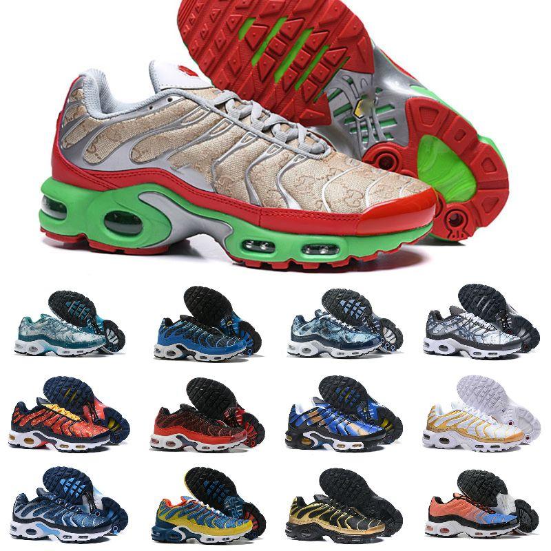 Los nuevos mens TN Plus SE zapatos para correr el triple arco iris negro blanco azul del trullo Hyper torcer grito hombres verdes formadoras corredor de las zapatillas de deporte