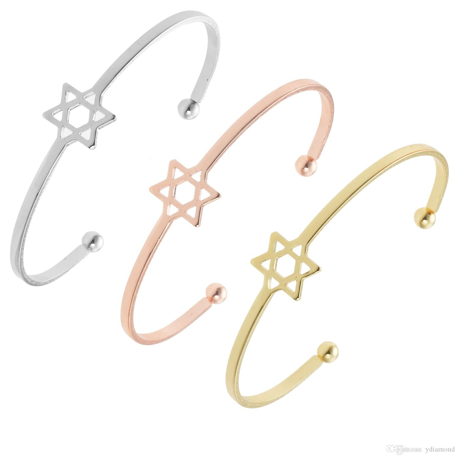 Korean version of popular hollow-out five-pointed star bracelet mouth rose gold bracelet six-pointed star female joker temperament fashion b