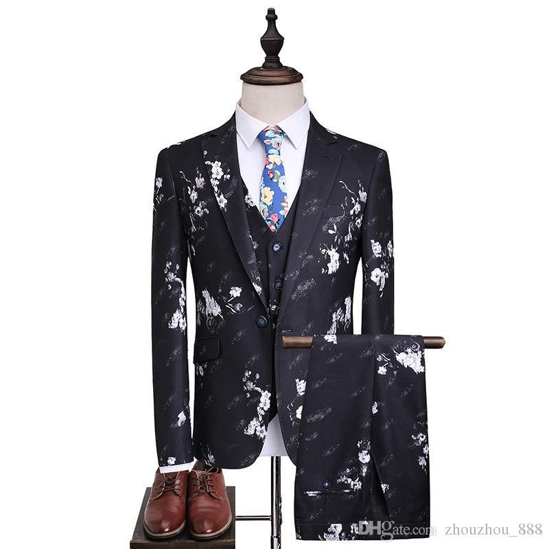 Yeni erkek takım elbise erkek takım elbise üç parçalı takım (ceket + pantolon + yelek) erkek baskılı tek düğme moda ince ...