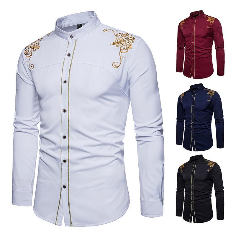 Erkek Tasarımcı T Shirt Bahar Yeni Moda İngiliz Kraliyet Işlemeli erkek Uzun Kollu Gömlek Satış Özel Gömlek Ouma