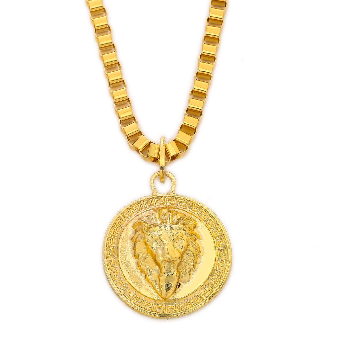 Collier avec pendentif médaillon tête de lion grecque motif grecque motif de hip hop pour homme