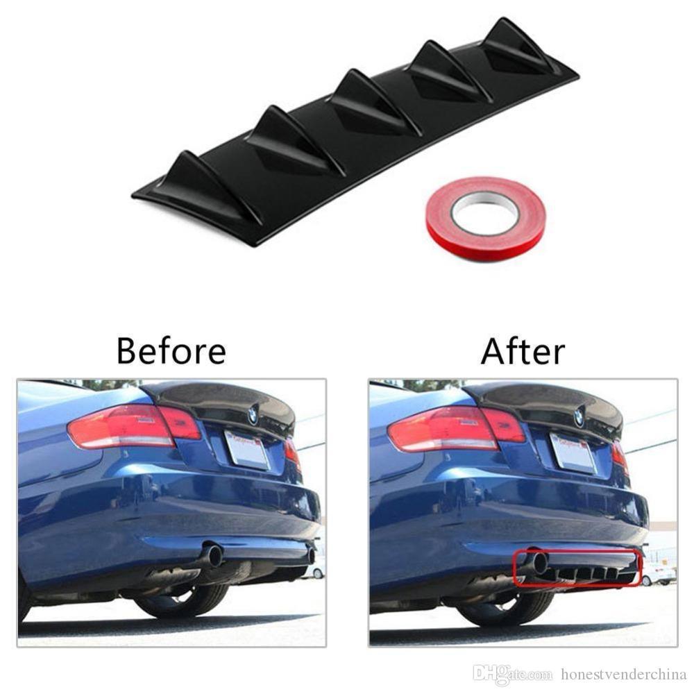 Difusor universal del labio trasero del parachoques del coche 5//3 Fin Negro brillante del ABS pl/ástico color: negro