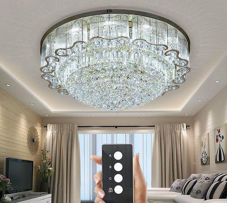 3 Brillo de techo cristal enciende a la sala de estar de la lámpara enciende la lámpara de techo de cristal Oro Led Dormitorio restaurante de iluminación con control remoto Contro Myy