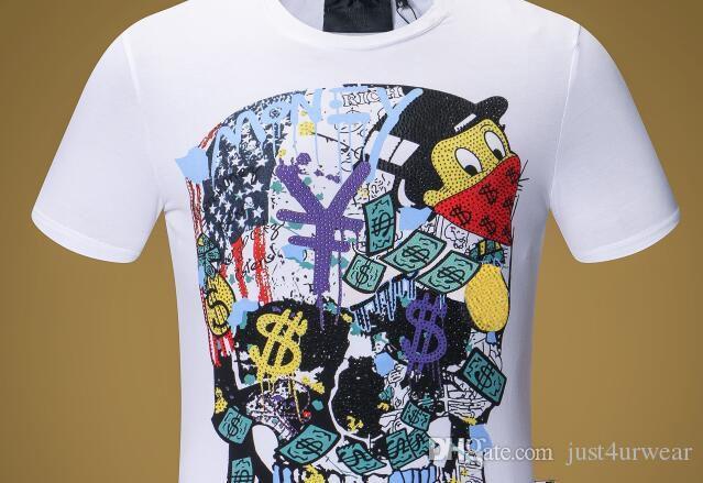 Mens Luxury Brand Money Letter Print T-Shirts PP Short Sleeve Tshirt Designer Duck Tees Males Fashion Loose Streetwear Tees Tops