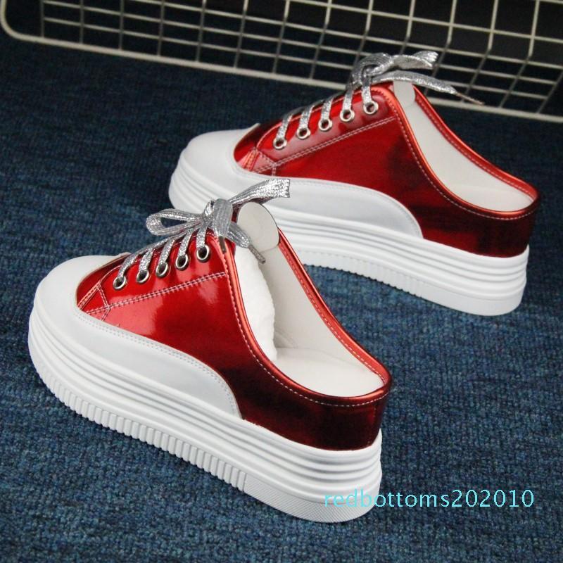 Chaussures femmes 2019 petites chaussures blanches fond épais femmes ont augmenté simples paillettes 7cm r10 casual laser