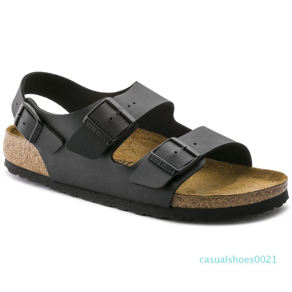 FUUI originale Hommes Femmes Sandales 2-Bracelet en cuir PU Plate-forme confortable chaussons liège Sole Slide On Chaussures C21