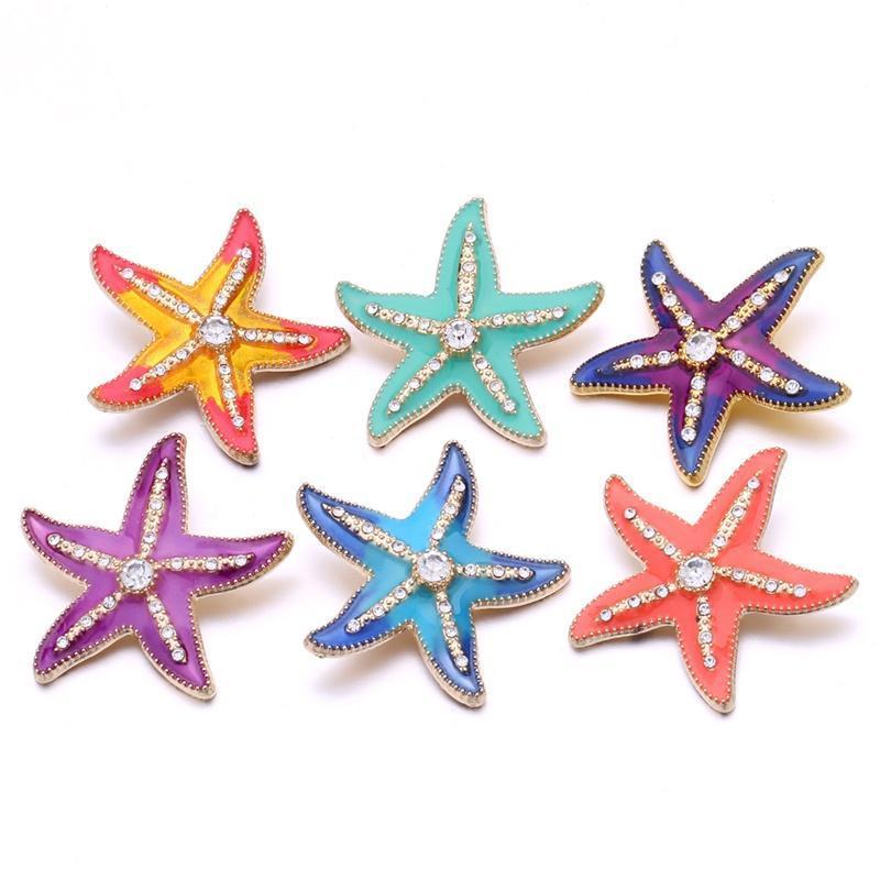 Нуса Rhinestone Эмаль 3D Starfish 18мм Имбирь Привязать ювелирные изделия Позолоченные Привязать DIY ожерелье браслет аксессуар Новый Поиск