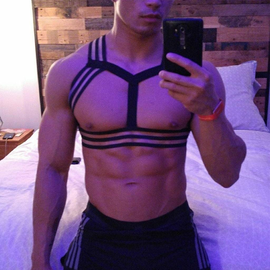 Shapers Man Sexy Lingerie Men Porno High Elastic Bind Shoulder Club Show Chest Muscle Belt S/m Toy G3