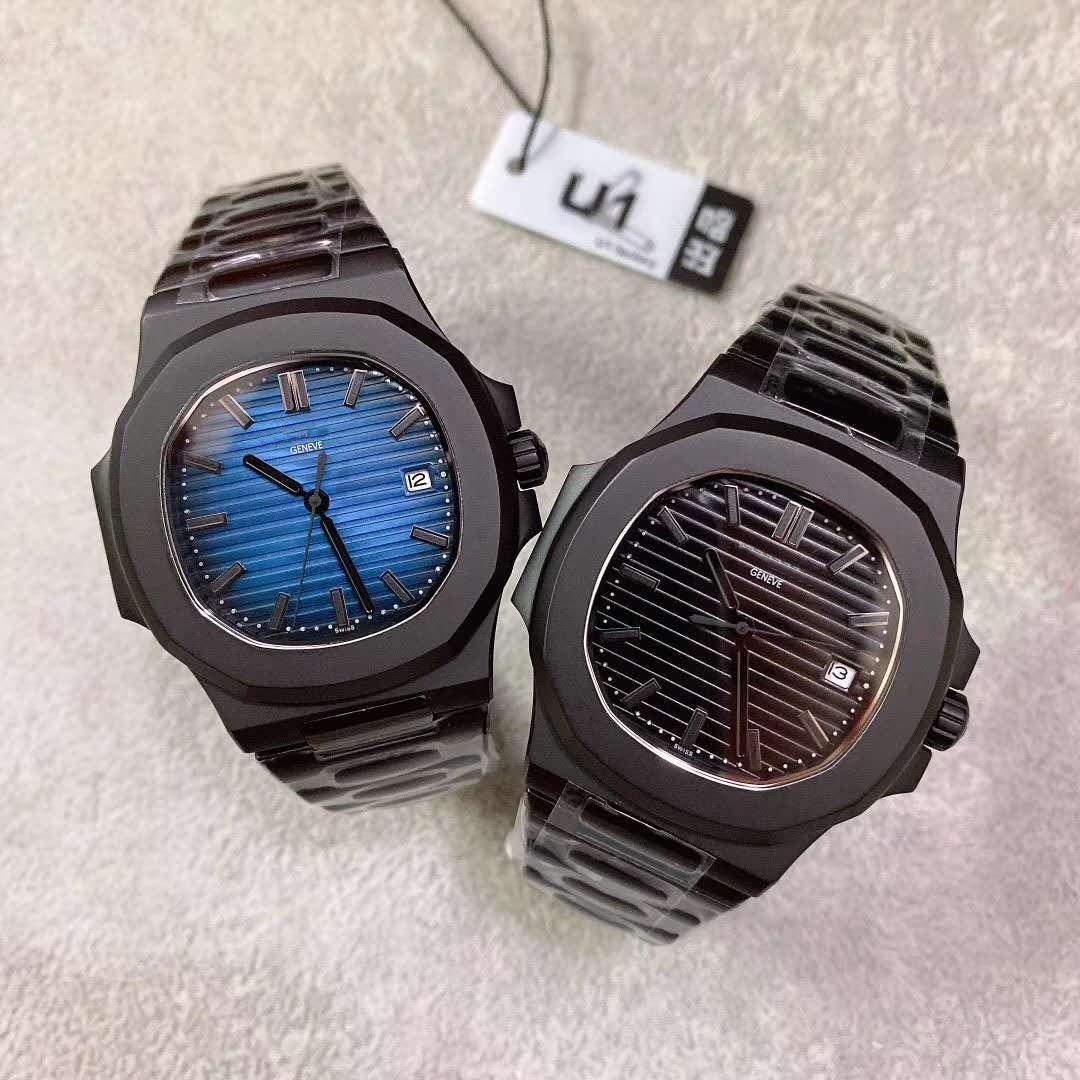 U1 مصنع نموذج جديد أسود حالة سوداء اللون pp التلقائي حركة الحركة الميكانيكية نقش 40MM Blackblue تاريخ الطلب جينيف ساعات رجالية