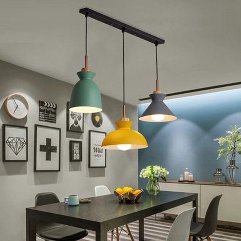 Set von 3 Esstisch-Lampe Lichter Macaroon Bunte LED Moderne Pendelleuchte Hanglampe für Kücheninsel Deckenraumbeleuchtung