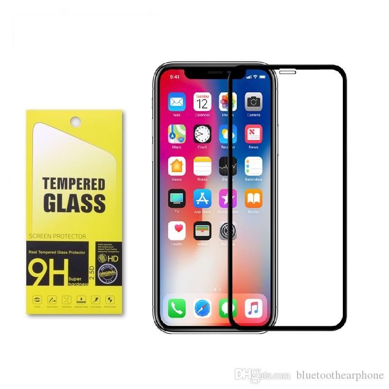 FULL GLUE Kohlefaser weichen Rand 3D CURVED gehärtetes Glas-Schutzfolie für iPhone 11 Pro MAX 7 8 Plus X XR XS