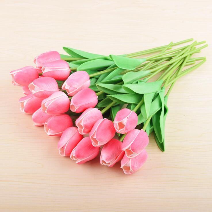 PU Artificial Flowers Silk Tulips Real Touch Flowers mini Tulip Wedding Decorative Bouquet Wedding Decorations Home Decor LXL732-2