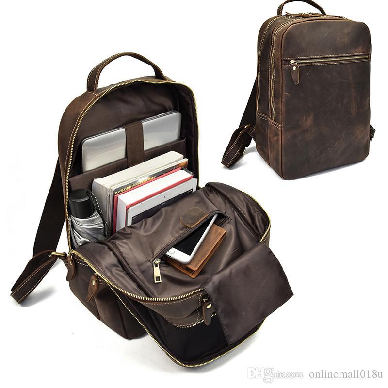 Crazy Horse Genuine Leather Backpack For Teenager 15inch Laptop Rucksack Vintage Daypack school bag Big Travel bag
