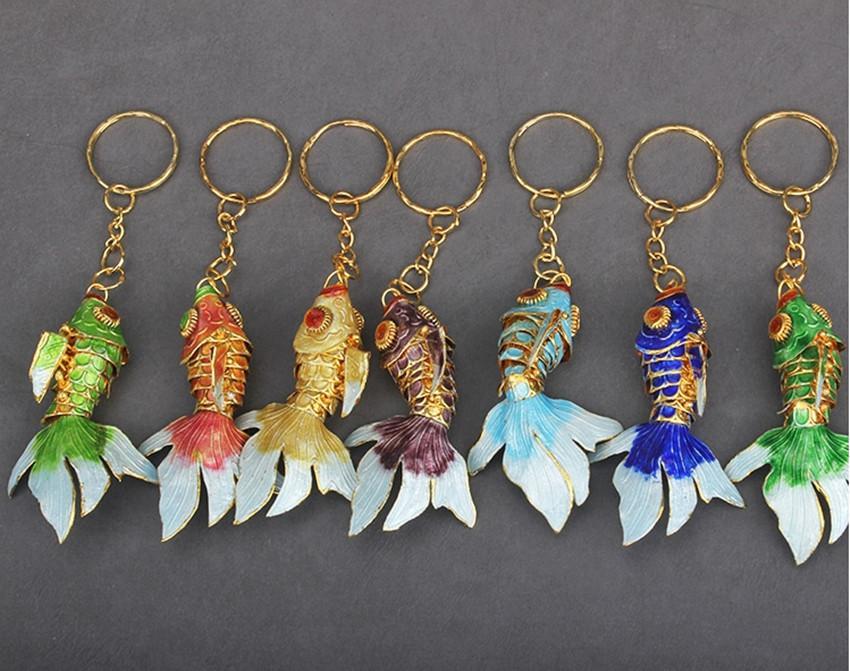 6 سنتيمتر يدويا يتوهم المينا لطيف الأسماك المفاتيح حية سوينغ الحيوان كيرينغ مصونة كوي ذهبية السيدات سلاسل المفاتيح حفل زفاف الضيوف هدايا 120 قطعة / الوحدة