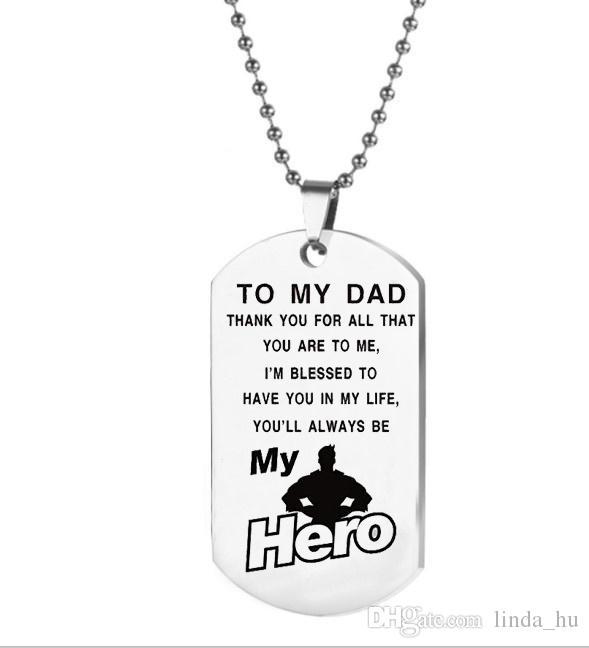 Cadeaux De Fête Des Pères Mon Papa Mon Héros Collier Pendentif Pour Père Pa G9W6
