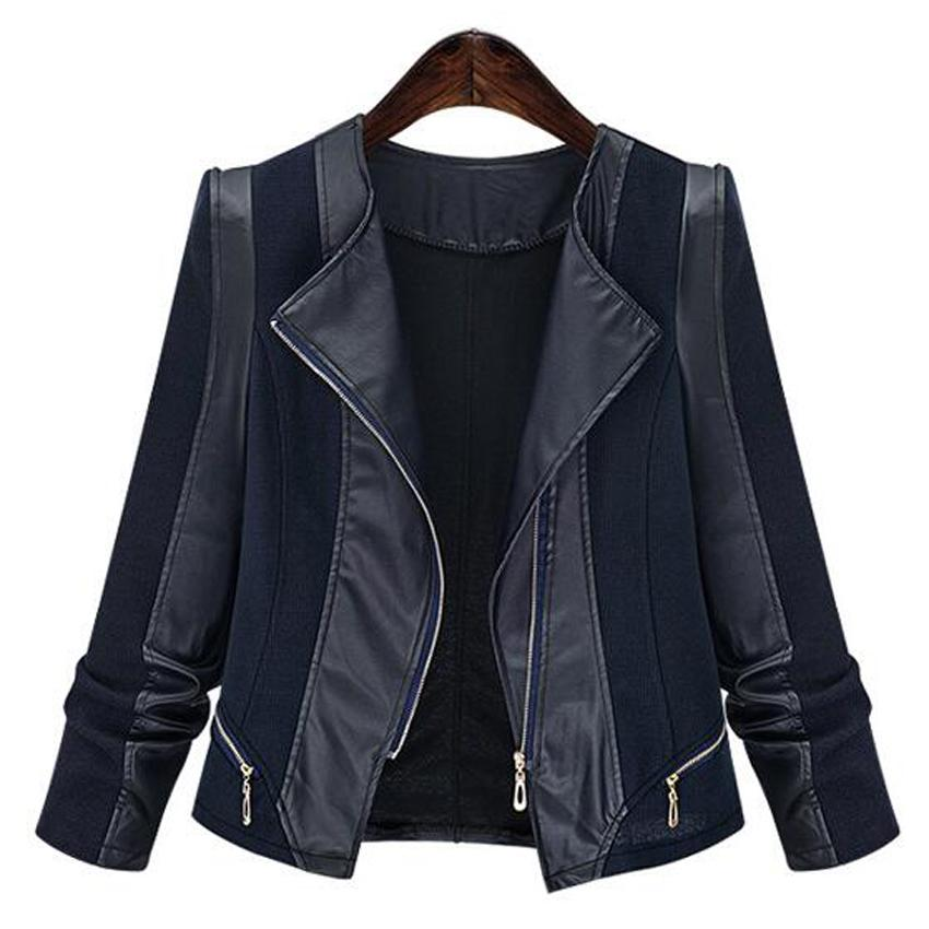 Casaco Feminino Plus Size 5xl 2018 Autumn Ladies PU Leather Coat 암 Slim Short 가죽 오토바이 jacket Women 's Outerwear free shipping