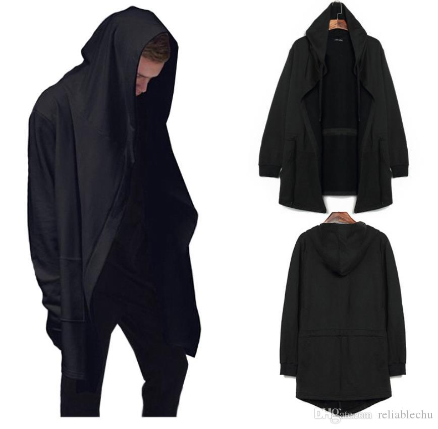 Cape Cloak Men Black Gray Batwing Pure Color Patchwork Plus Size Hooded Drawstring Hoodings Coats Free Ship Blouse Mantle Personality