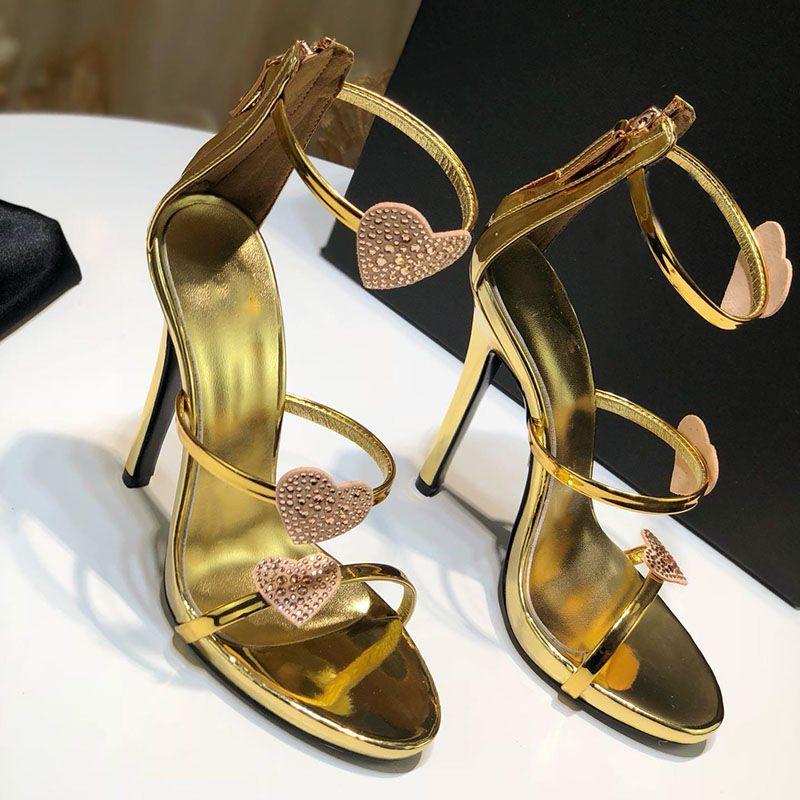 2019 neue Mode Schuhe Frau Designer High Heel Sandalen Sandalen Leder Material